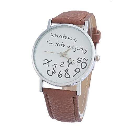 Souarts Damen Braun Jugendliche Armreif Uhr mit Batterie Zifferblatt