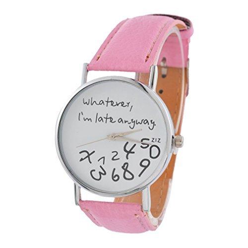 Souarts Damen Rosa Jugendliche Armreif Uhr mit Batterie Zifferblatt