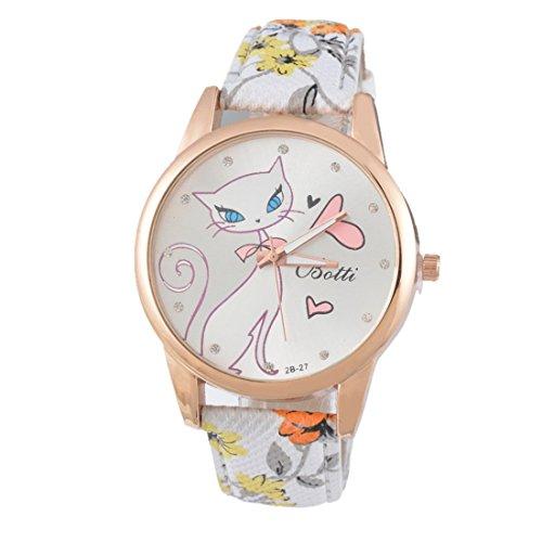 Souarts Damen Orange Retro Stil Kaetzchen Armbanduhr mit Strass Quartzuhr Analog mit Batterie