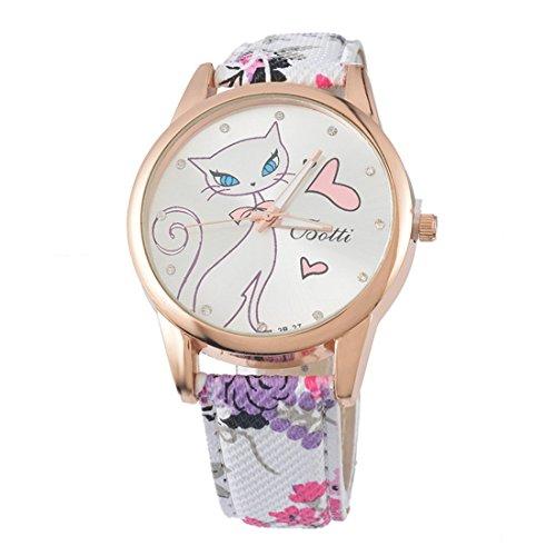 Souarts Damen Lila Retro Stil Kaetzchen Armbanduhr mit Strass Quartzuhr Analog mit Batterie