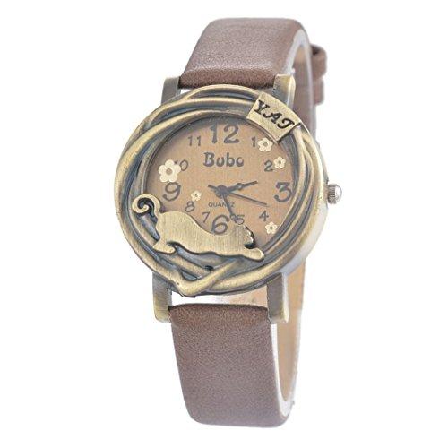 Souarts Damen Retro Kaffeebraun Kunstleder Schueler uhr Armbanduhr Quartzuhr Analog Uhr mit Batterie
