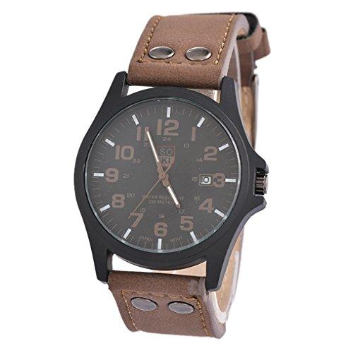 Souarts Herren Kaffeebraun Kunstleder Wasserdicht Armbanduhr Quarzuhr mit Kalender Uhr mit Batterie