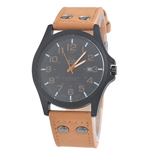 Souarts Herren Braun Kunstleder Armbanduhr Quarzuhr mit Kalender Uhr mit Batterie