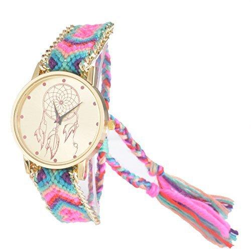 Souarts Damen Mehrfarbig Geflochten Armbanduhr Jugendliche Armreif Uhr mit Batterie Zifferblatt