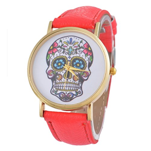 Souarts Damen Rot Schaedel Punk Armbanduhr Quartz Analog Armreif Uhr mit Batterie