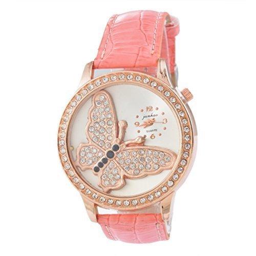 Souarts Damen Rosa Schmetterling mit Strass Armbanduhr Quartz Analog Armreif Uhr mit Batterie