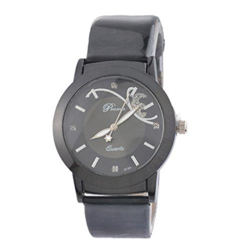 Souarts Damen Schwarz Schmetterling Kunstleder Armbanduhr Quartzuhr Analog Armreif Uhr mit Batterie