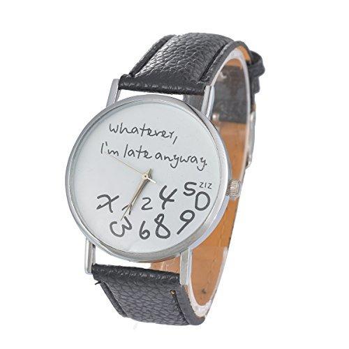 Souarts Damen Schwarz Arabische Ziffern Armbanduhr Quartz mit Batterie