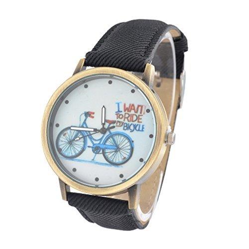 Souarts Damen Schwarz Segeltuch Fahrrad Jugendliche Armreif Uhr mit Batterie Zifferblatt