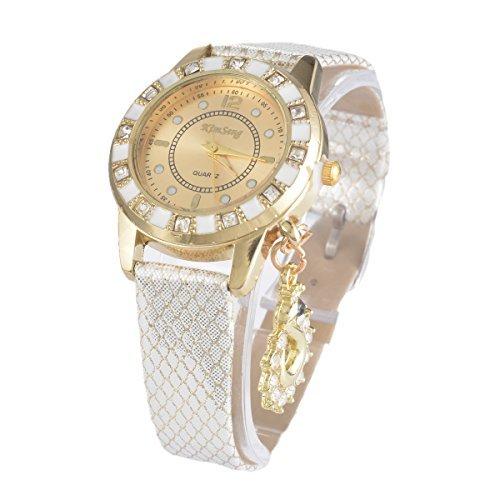 Souarts Damen Weiss Strass Armbanduhr Quartz Analog mit Batterie