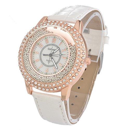 Souarts Damen Weiss Treibsand Armbanduhr Quartzuhr Analog mit Strass Batterie