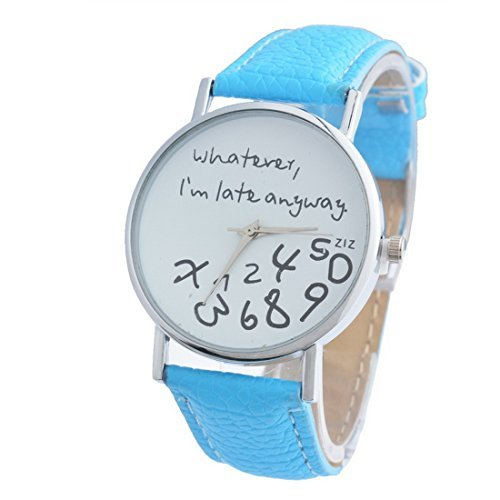 Souarts Damen Azur Whatever I am late anyway Armbanduhr Armreif Uhr mit Batterie Zifferblatt