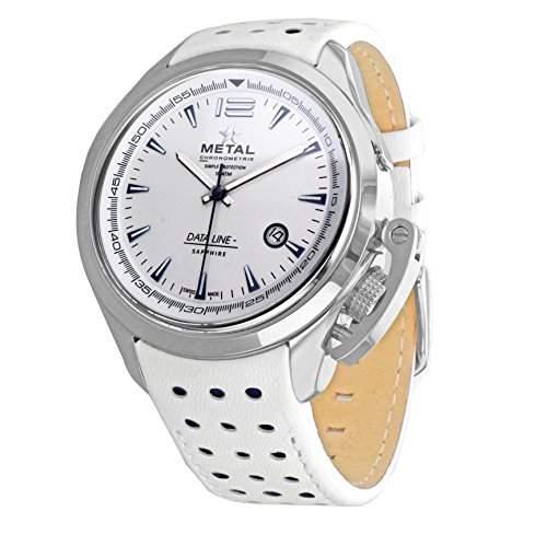Metall CH Daten Line Herren Quarz-Uhr mit weissem Zifferblatt Analog-Anzeige und Weiss Lederband 811441