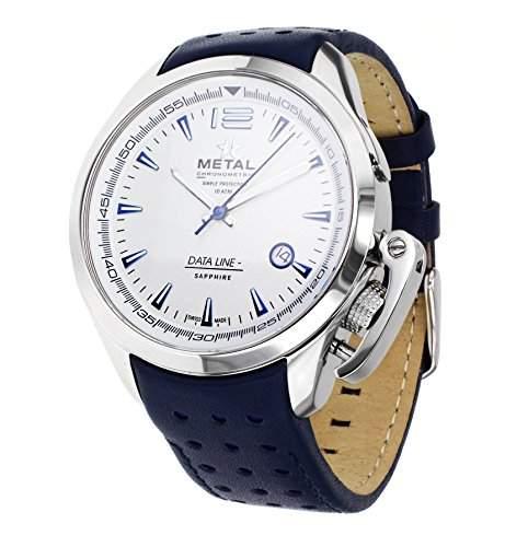 Metall CH Daten Line Herren Quarz-Uhr mit weissem Zifferblatt Analog-Anzeige und Blau Lederband 811941