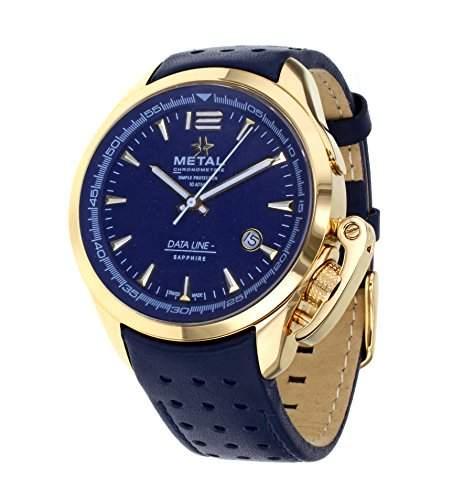 Metall CH Daten Line Herren Armbanduhr mit Blau Zifferblatt Analog Display und Blau Lederband 835341