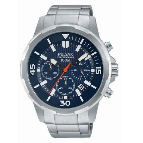 Herrenuhr Pulsar Modell Sport Silber und blaue Metall pt3713 x 1