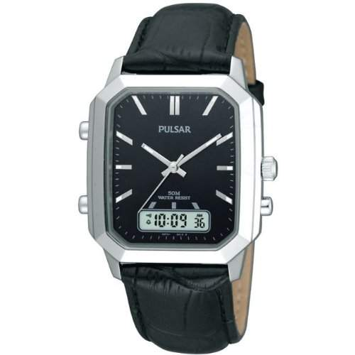 Pulsar PBK027X1 Mens Combi-Timer Leather Strap Watch
