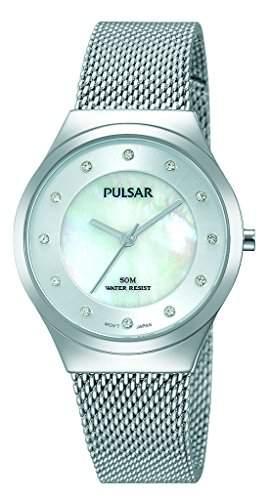 Pulsar Herren 30mm Silber Edelstahl Armband & Gehaeuse Hardlex Uhr PH8131