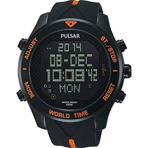 Pulsar Herren 48mm Chronograph Schwarz Kautschuk Armband Mineral Glas Uhr PQ2037