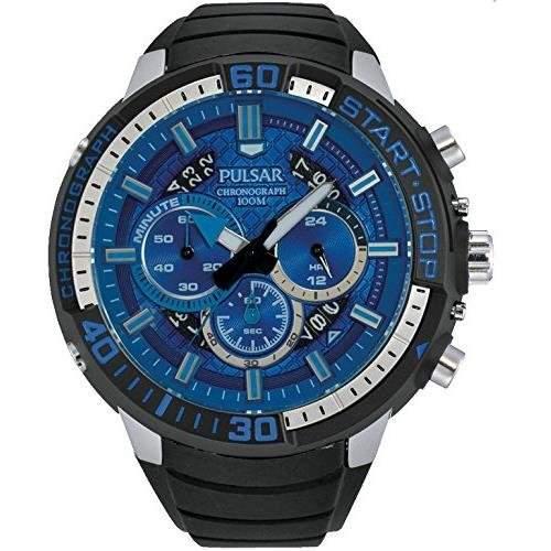Pulsar Herren 48mm Chronograph Schwarz Kautschuk Armband Mineral Glas Uhr PT3551
