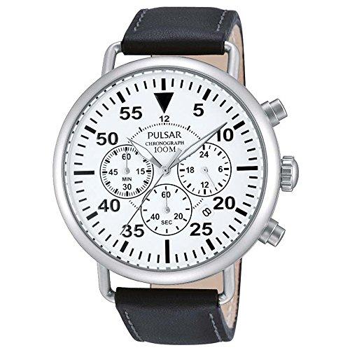 Pulsar Herren 44mm Chronograph Schwarz Leder Armband Mineral Glas Uhr PT3473