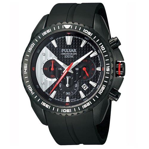 Pulsar Herren 45mm Chronograph Schwarz Kautschuk Armband Mineral Glas Uhr PT3277