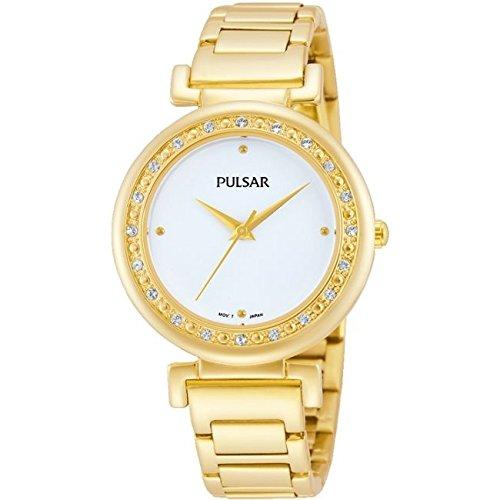 Pulsar Damen 31mm Gold Edelstahl Vergoldet Armband Hardlex Uhr PH8104
