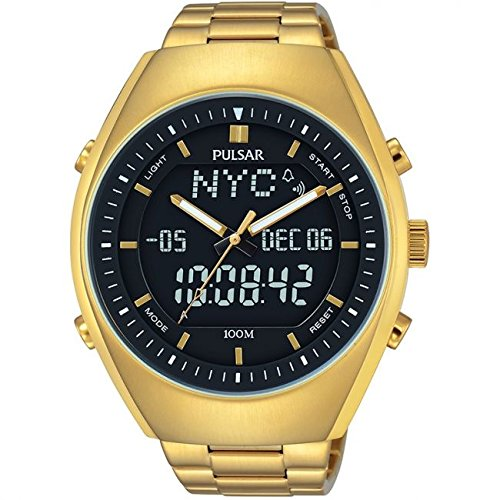 PULSAR Gents Duo Display World Timer Gold Plated Bracelet Watch