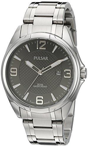 Pulsar Herren Armbanduhr Basic Kleid silberfarbenes und Edelstahl Quarz Farbe Modell ph9095