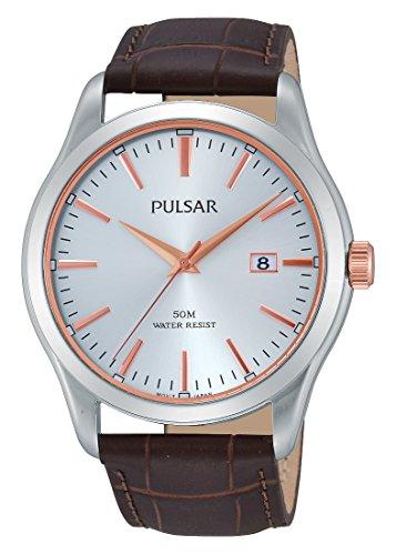 Pulsar Herren Armbanduhr XL Classic Analog Quarz Leder PS9305X1