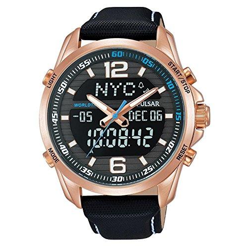 Pulsar Herren Armbanduhr 44mm Armband Leder Schwarz Gehaeuse Edelstahl Hardlexglas Batterie PZ4006