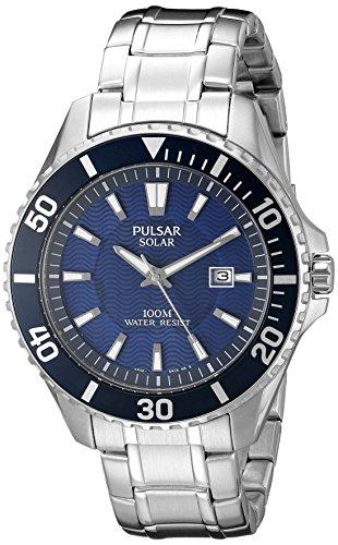 Pulsar Herren Armbanduhr 44mm Armband Edelstahl Gehaeuse Hardlexglas Quarz Zifferblatt Blau Analog PX3067