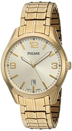 Pulsar Herren Quarz Messing und Edelstahl Kleid Uhr Farbe goldfarbenem Modell ps9488