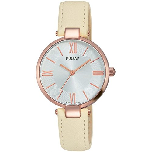 Pulsar Ladies Rose Gold Cream Leather Strap Watch