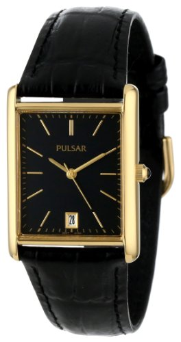 Pulsar PXDA80 Mens Black Dial Leather Strap Gold Tone Watch