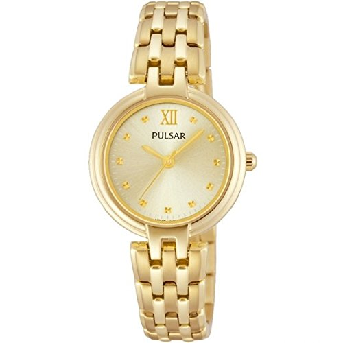 Pulsar Watches Ladies Gold Tone Classic Dress Watch With Gold Dial