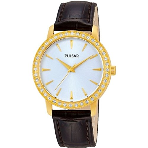 Pulsar Watches Ladies Classic Gold Tone Stone Set Dress Watch With Brown Strap