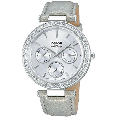 Pulsar Watches Ladies All Silver Stone Set Multi Eye Watch
