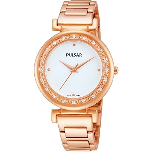 Pulsar Watches Womens Rose Gold Tone Dress Watch With Stone Set Bezel
