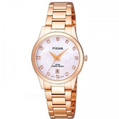 Pulsar Womens Rose Gold Stainless Steel Bracelet Watch PH7312