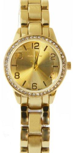 Elegante Armbanduhr in Gold Design mit Strass Besatz und Edelstahlarmband
