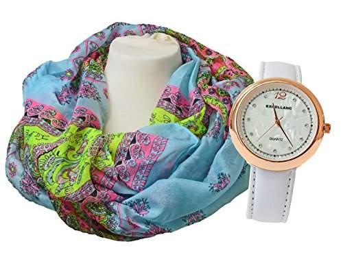 Damenuhr Armbanduhr weiss-goldfarben PU Leder Set mit Loop Schal 180cm x 50cm Design Flower