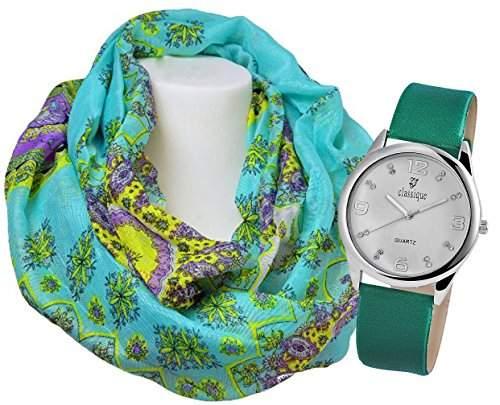 Modische Damenuhr, Armbanduhr schlicht, sportlich in silber mit gruenem PU Lederarmband im Set mit Loopschal