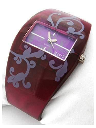 MAVIS Modische Damen Spangen-Uhr Purple mit Tatoo-Ornamenten 04897015