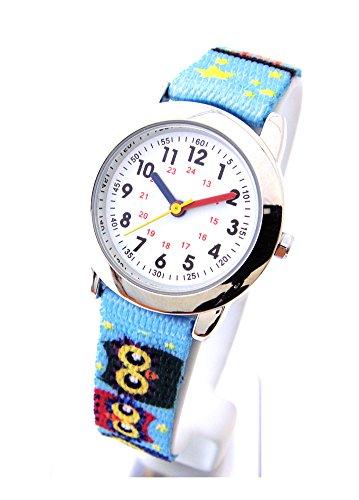 Kinderuhr mit Lernzifferblatt und Textil Armband Motiv Eule