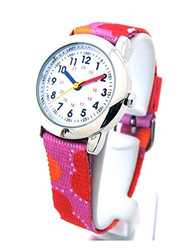 Kinderuhr mit Lernzifferblatt und Textil Armband Motiv Girls
