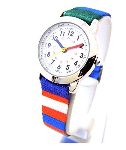 Kinderuhr mit Lernzifferblatt und Textil Armband Motiv Regenbogen