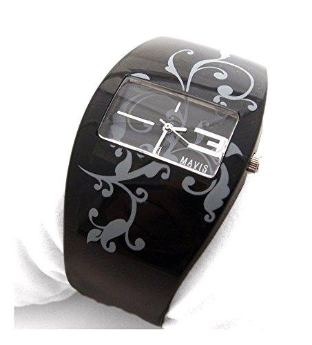 MAVIS Modische Damen Spangen Uhr Schwarz mit Tatoo Ornamenten 04897008