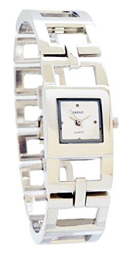 ferenzi Damen anspruchsvolles silberfarbenes Offene Square Link Armband watch ha0267