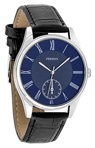 ferenzi Herren Armbanduhr Classic Casual roemischen Zahl Blue Face Silber mit Schwarz PU Croc Leder Uhr fz17402